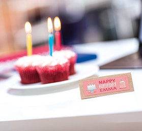 Happy birthday colour label